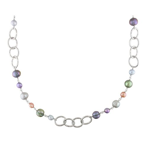 Silvertone Multi-Colored Cultured Pearl Round Links Chain Necklace