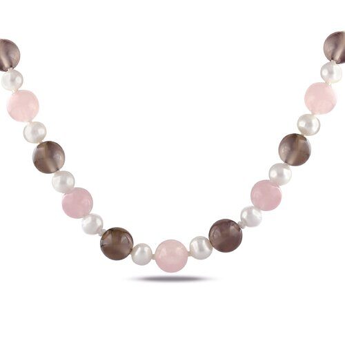 Amour Rose Quartz, Brown  Agate and White Cultured Pearl Necklace