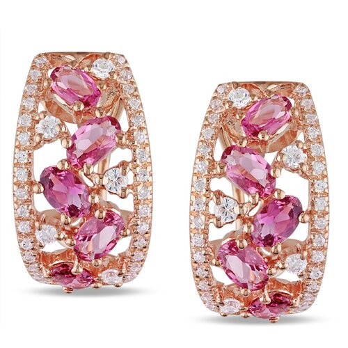 Pink Tourmaline and Cubic Zirconium Clip back Earrings