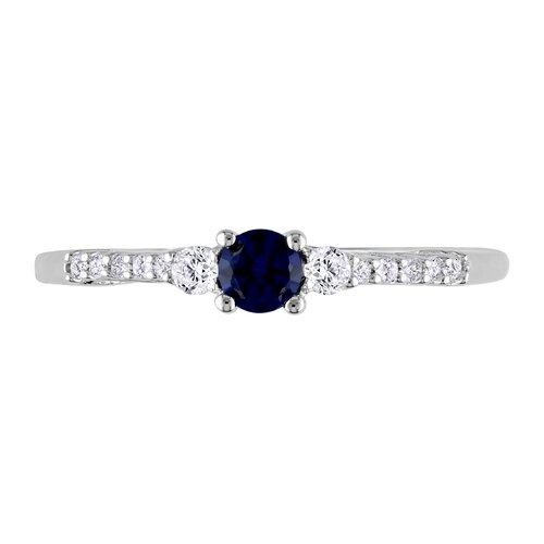 Amour sterling Silver Created Blue Sapphire and White Sapphire Fashion Ring