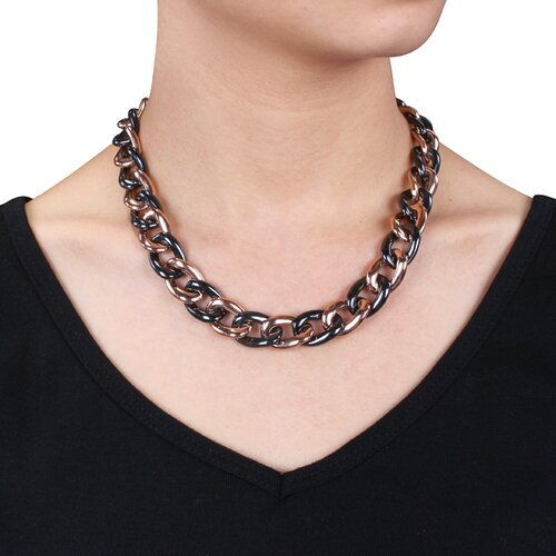 Amour Pink Plated Stainless Steel and Black Ceramic Link Necklace