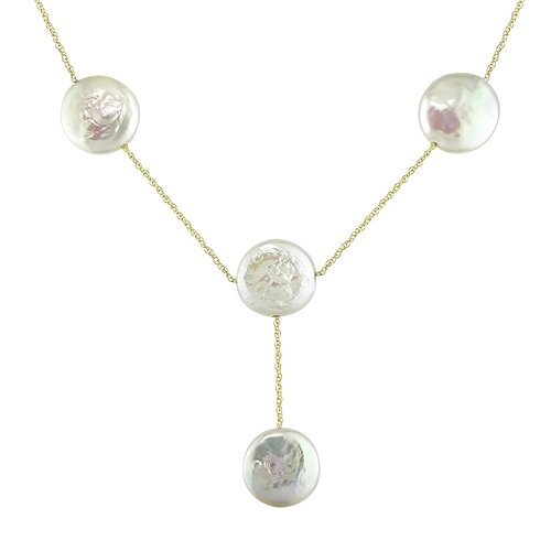 Amour Yellow Gold Rope Chain Coin Shaped Freshwater Cultured Pearls Necklace