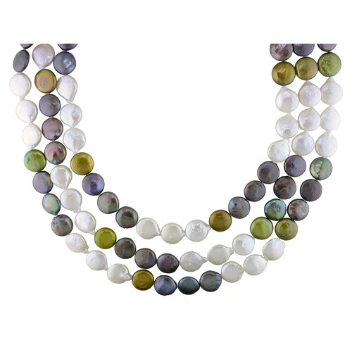 Yellow Gold Coin Shaped Freshwater Cultured Pearls Necklace