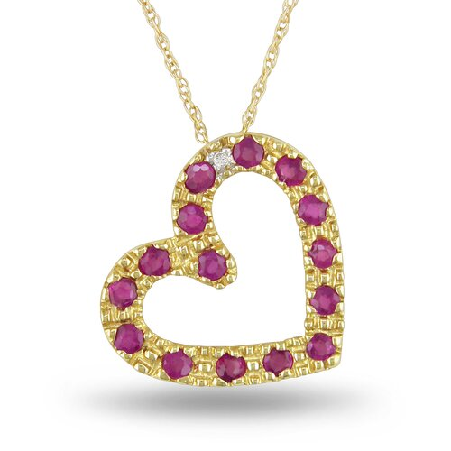 Rope Chain Round Ruby and Diamond Pendant