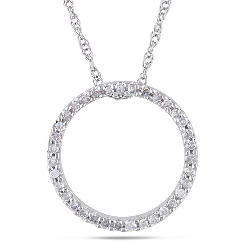 Amour Rope Chain Round Cut One Eighth of a Carat Diamonds Pendant