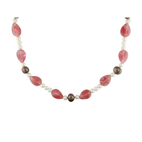 Amour Pear Cut, Potato Shaped and Round Shape Cultured Pearls Quartz Beads Endless Necklace
