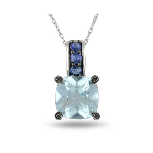 Rope Chain Cushion Cut Seven Carats Sky Topaz, Sapphire and Diamond Pendant