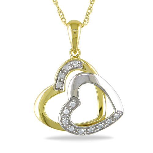 Amour Rope Chain Round Cut Diamonds Heart Pendant