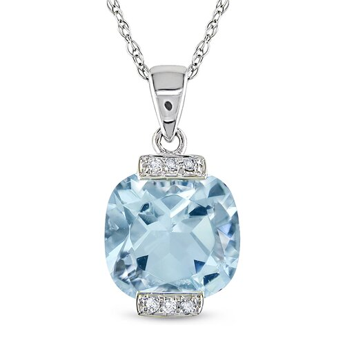 Amour Rope-chain, Round-cut Cushion Checkerboard-cut Sky Blue Topaz, Four and Quarter Carat of Diamond Pendant