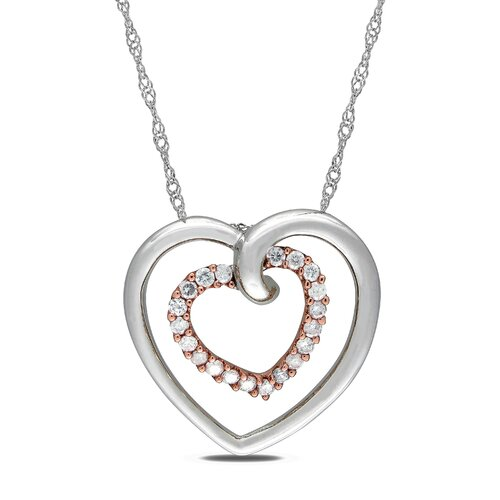 Amour White and Pink Gold Rope-chain Quarter Round-cut A Quarter Carat of Diamond Heart Pendant
