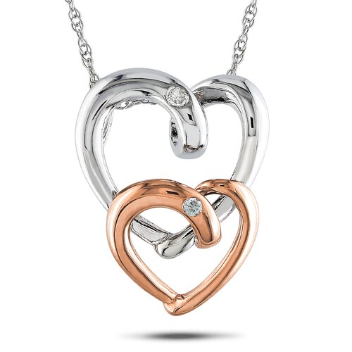 White and Pink Gold Rope-chain Round-cut A Quarter Carat of Diamond Heart Pendant