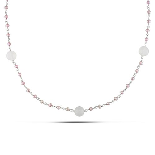 Sterling Silver Round-cut Fifty Two Carats of Gemstones and Freshwater Cultured Pearl Necklace