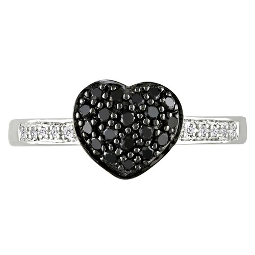 Amour Sterling Silver Round Cut Diamond Heart Ring