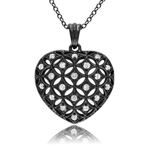 Amour Sterling Silver Round Cut Diamond Heart Pendant