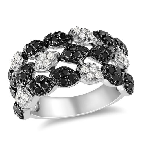 Sterling Silver Round Cut Diamond and Rhodium Multi Stone Ring