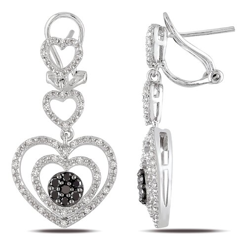 Amour Sterling Silver Round Cut Diamond Drop Earrings