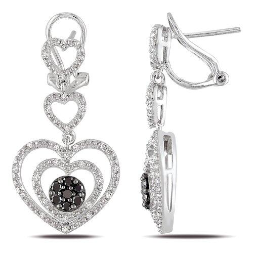 Sterling Silver Round Cut Diamond Drop Earrings