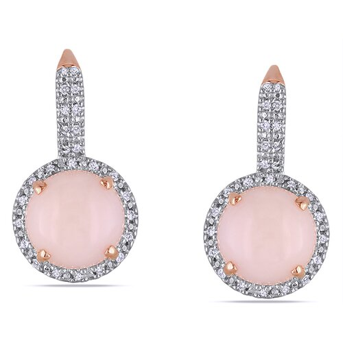 Round Cut Gemstone Lever Back Earrings