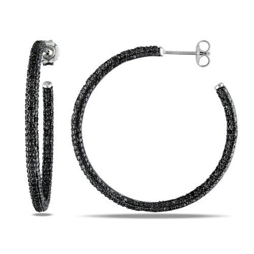 Amour Round Cut Black Diamond Hoop Earrings