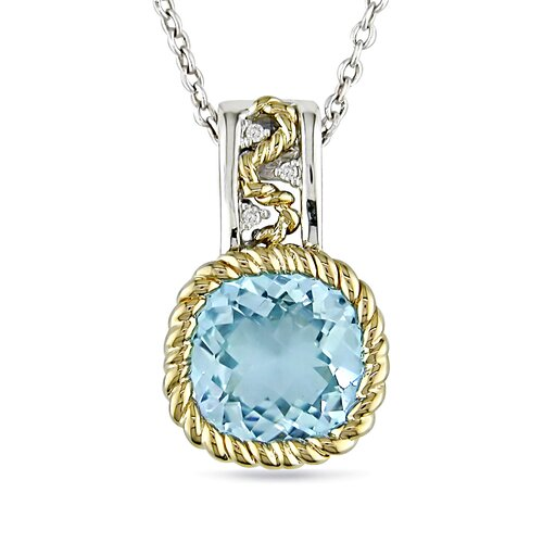 Amour 10K Gold and Sterling Silver Round Cut Diamond Pendant