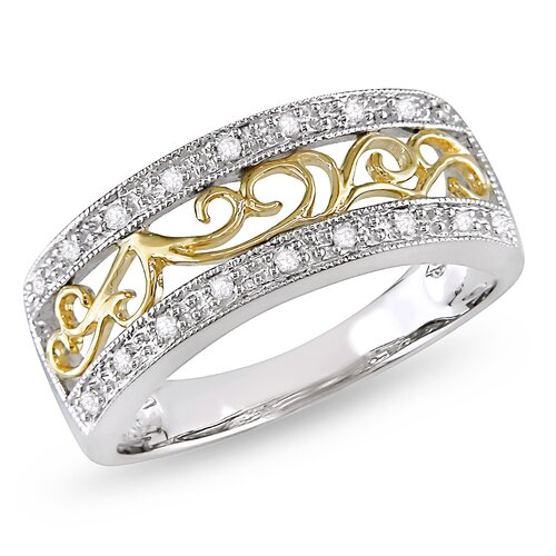 Amour 10K Two-Tone Gold Round Cut Diamond Ring