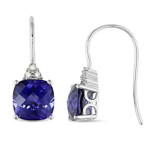 Cushion Cut Sapphire Drop Earrings