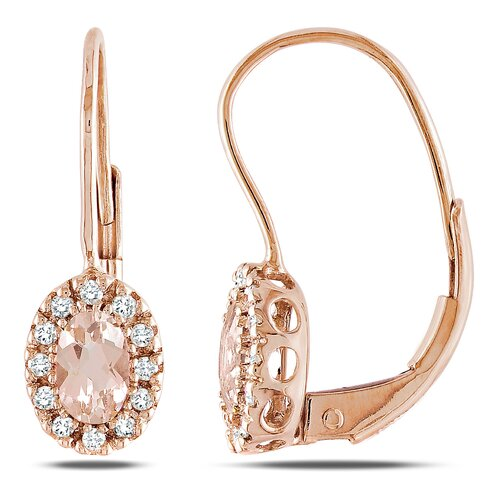Diamond and Morganite Earrings