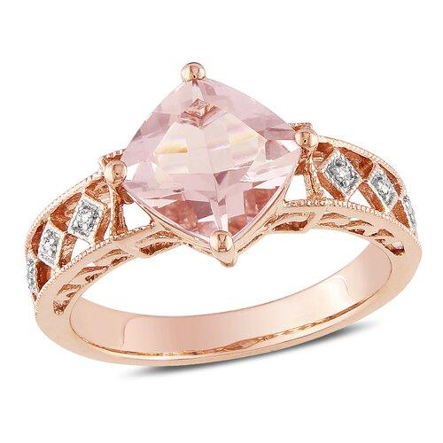 10k Pink Gold Princess Cut TGW Morganite Fashion Ring