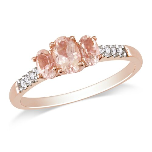 10k Pink Gold Oval Cut TGW Morganite Fashion Ring