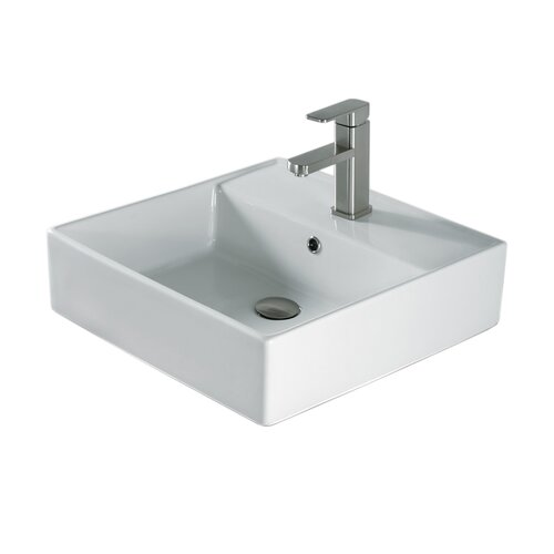 "Madeli 20"" Above Counter Ceramic Bathroom Sink with Overflow"