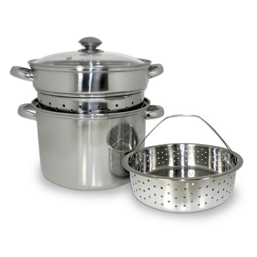 4 Piece 8-Quart Stainless Steel Multi-Cooker Set