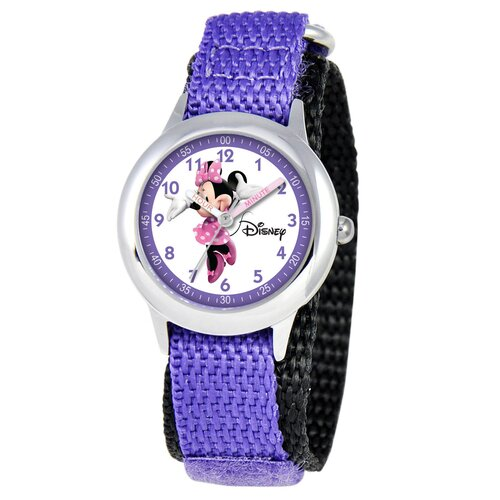 Disney Kid's Minnie Mouse Time Teacher Velcro Watch in Purple