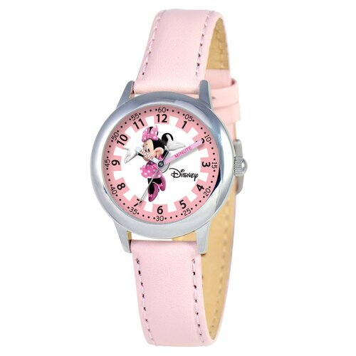 Disney Kid's Minnie Mouse Time Teacher Watch in Pink Leather