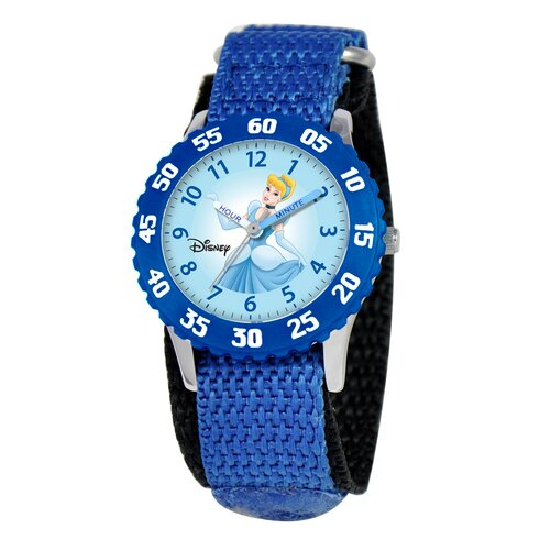 Disney Kid's Cinderella Time Teacher Watch in Blue Nylon