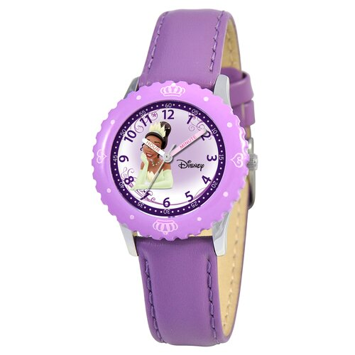 Disney Kid's Tiana Time Teacher Watch in Purple Leather