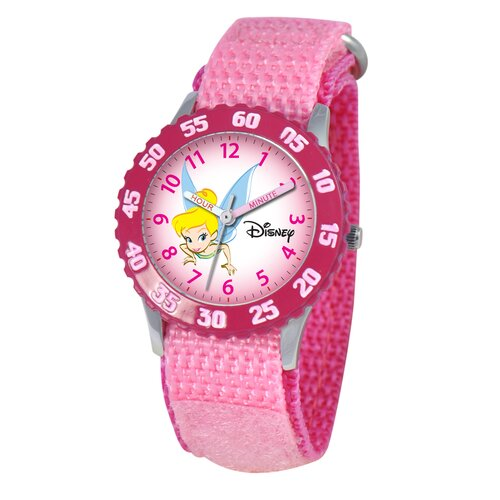 Disney Kid's Tinker Bell Time Teacher Velcro Watch in Pink with Pink Bezel