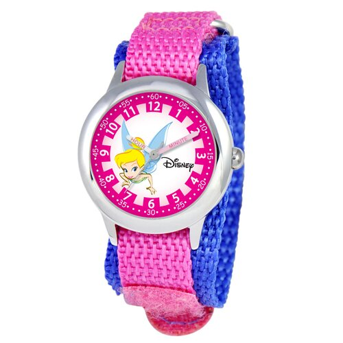 Kid's Tinker Bell Time Teacher Velcro Watch in Pink