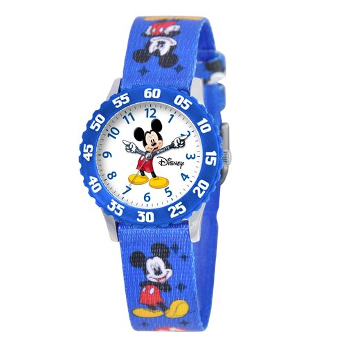 Kid's Mickey Time Teacher Watch in Blue with Blue Bezel