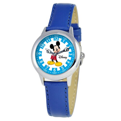 Disney Kid's Mickey Time Teacher Watch in Blue Leather