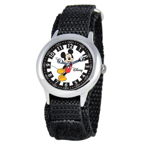 Kid's Mickey Stainless Steel Time Teacher Velcro Watch in Black