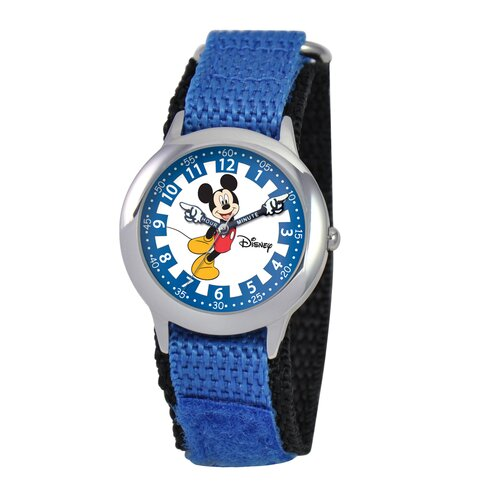 Disney Kid's Mickey Time Teacher Velcro Watch in Blue