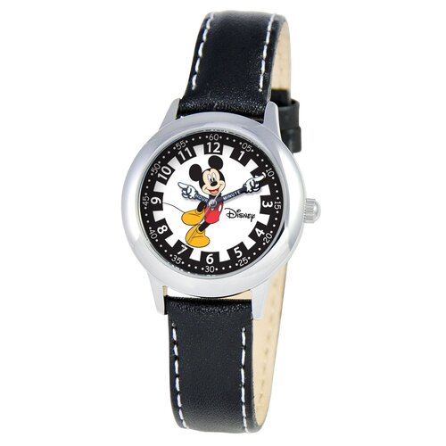 Kid's Mickey Stainless Steel Time Teacher Watch in Black Leather
