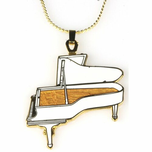 Harmony Jewelry Steinway Grand Piano Necklace in Gold and White