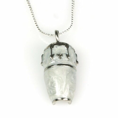 Harmony Jewelry Conga Drum Necklace in Silver and White