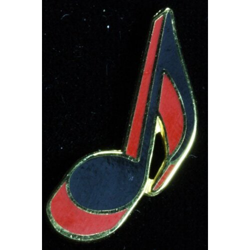 Harmony Jewelry Eighth Note Pin in Gold and Red