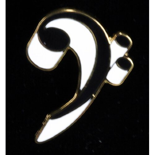 Harmony Jewelry Bass Clef Pin in Gold and White