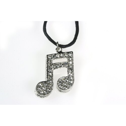 16th Note Necklace in Silver with Rhinestone