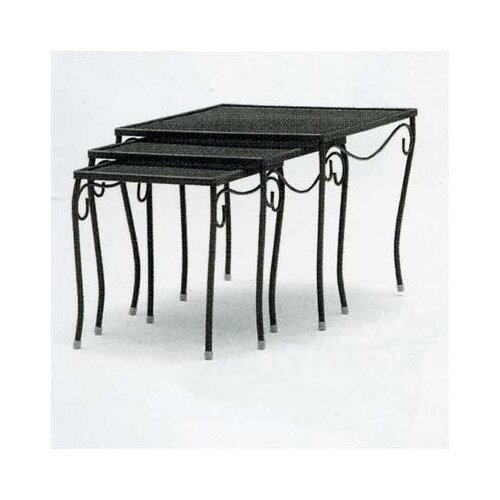 Woodard Mesh Top Occasional Nest of 3 Side Table