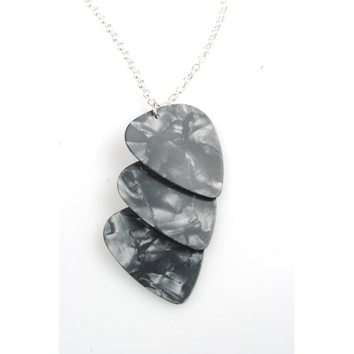PickC Jewelry Guitar Pick Necklace in Charcoal and Silver