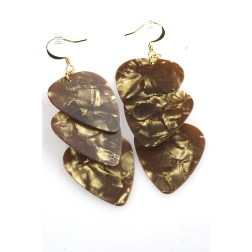 PickC Jewelry Guitar Pick Earrings in Brown and Gold